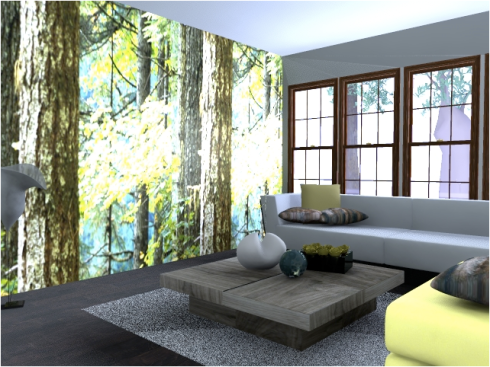 Room design created on mydeco.com - love the photographic wallpaper