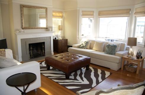 Living room Zebra rug