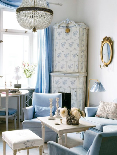 blue room and chandelier