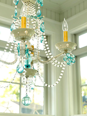 yellow and blue chandelier