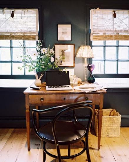 black walls in study