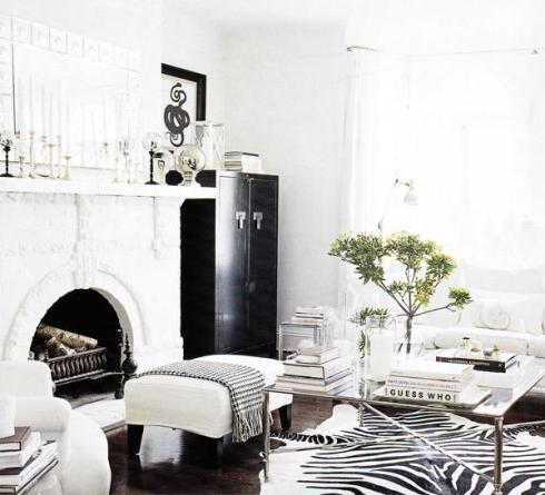 white room, black accents