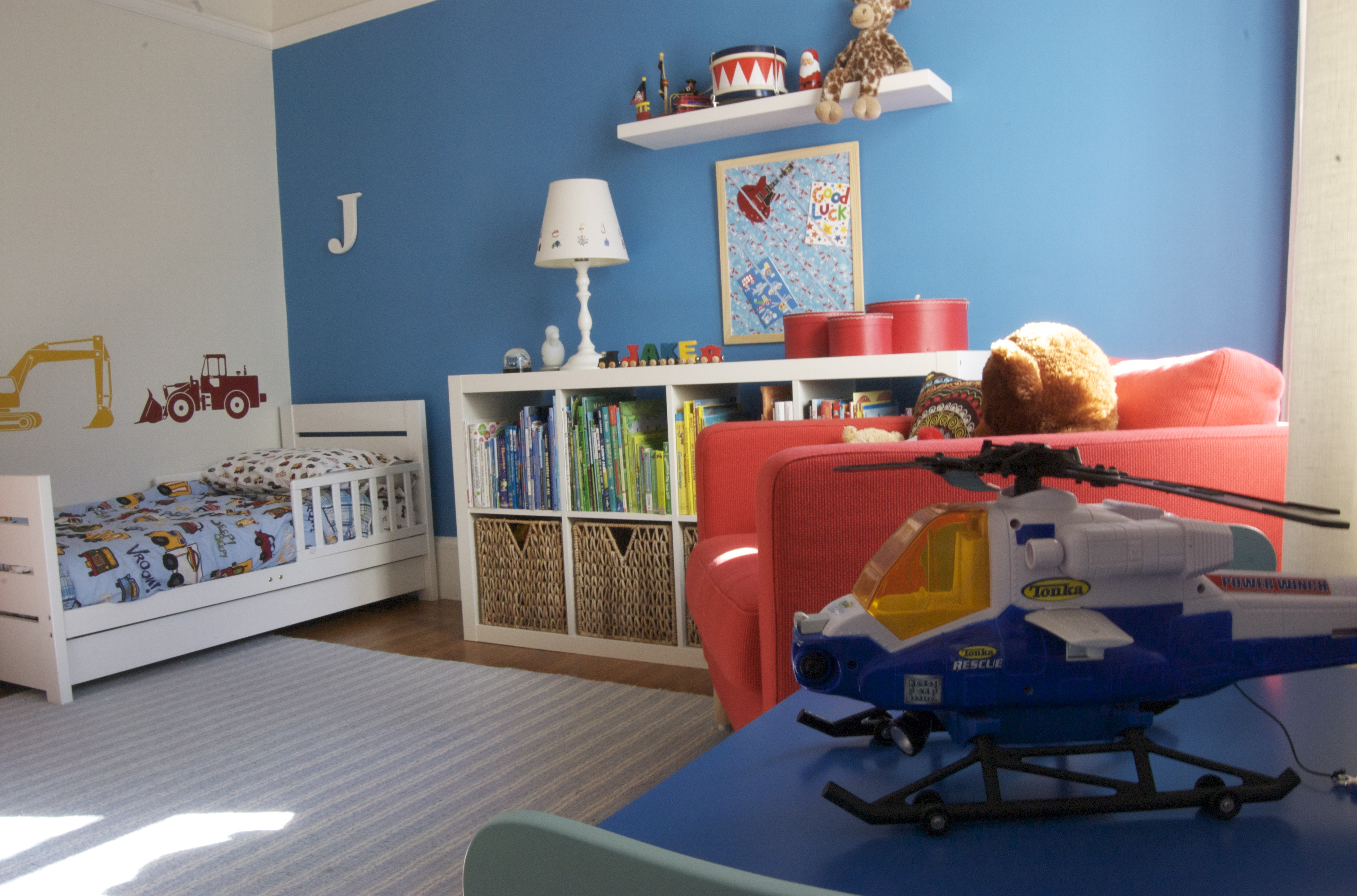 Toddler room for Blue and white boys room