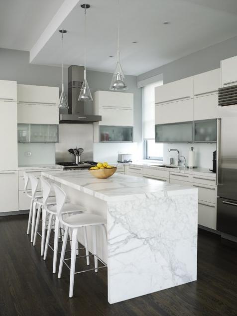 dark wood floor white kitchen. modern style informs the white