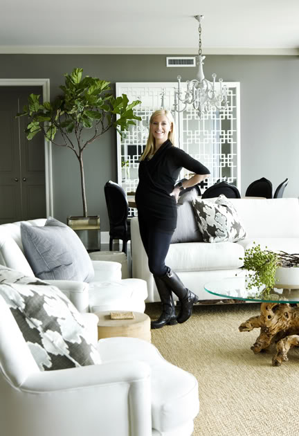 Dark gray living room walls with plants