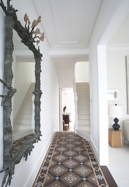 Hallway with neutral Moroccan tiles