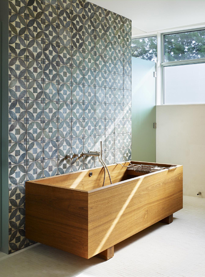 blue patterned tile wood bath bathroom