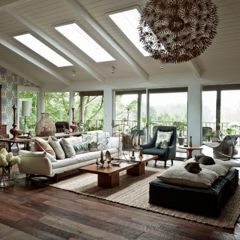 Modern wood living room