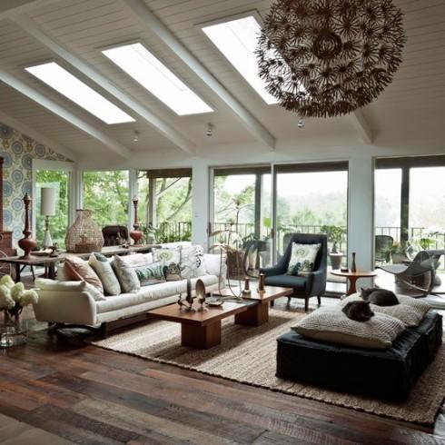 Modern wood living room