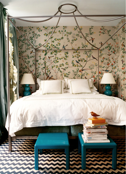 Turquoise+bedroom+wallpaper+Domino