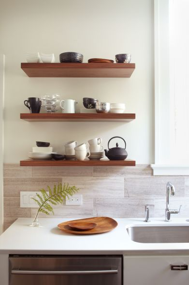 Kitchen walnut open shelves